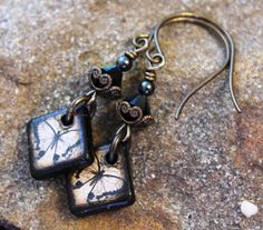 Butterfly Art Tile Earrings Black and Cream  Brass by JensFancy