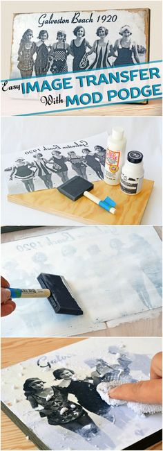 Learn how to transfer photos to wood in three simple steps! All you need is your favorite photo and Mod Podge photo transfer medium. It's easy. via @modpodgerocks