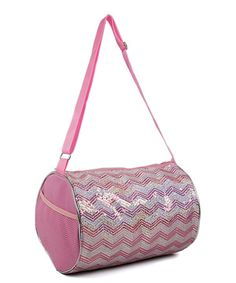 Loving this Pink & Silver Chevron Duffle Bag on #zulily! #zulilyfinds