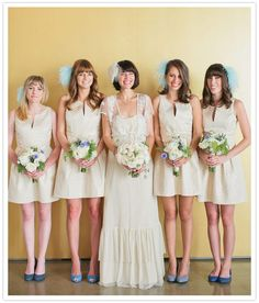 polka dot bridesmaid champagne dresses with blue shoes! dresses