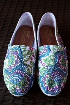 Womens - LIMITED EDITION - Custom Painted TOMS - Mandala and Paisley