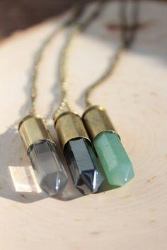 45 Caliber Bullet Necklace Clear Quartz // Jade by PureLifeForever, $30.00