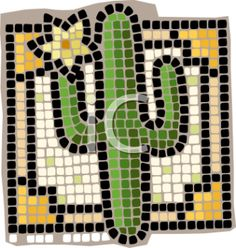 "This ""mosaic of a cactus plant"" clipart image is available through a low cost subscription service providing instant access to millions of royalty free clipart images, clip art illustrations and web graphics. Mosaic Tile Art, Mosaic Crafts, Mosaic Projects, Mosaic Glass, Stained Glass, Cactus House Plants, Cactus Cactus, Cactus Decor, Easy Mosaic"