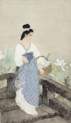 China, painting on silk by He Jiaying, Four Seasons Beauty China Painting, Silk Painting, Painting & Drawing, Art Chinois, China Art, Art Moderne, Beauty Art, Traditional Art, Japanese Art