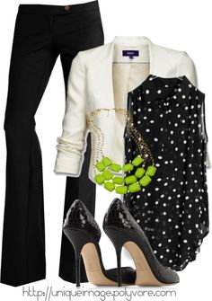 "{ Teacher Style } ""pop of color"" Black career pants, black sleeveless blouse with white polka dots, white 3/4 sleeve blazer, lime green bauble necklace, black flats or mary janes."