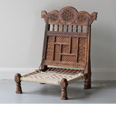 Old Indian Carved Back Chair