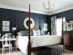 With blue walls, slate blue bedrooms, slate blue walls, dark master bedroom Blue Rooms, Dark Blue Bedrooms, Bedroom Makeover, Wall Decor Bedroom, Stylish Bedroom, Slate Blue Bedrooms, Home, Navy Blue Bedrooms, Blue Master Bedroom