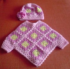 I can knit, must learn to crochet Infant Granny-Square Poncho w/ added cuffs and matching cap. (Link to pattern tutorial for a similar poncho)What a great idea! Crochet granny square poncho with sleeves for baby or toddler.I love the little cuffs on Crochet Poncho With Sleeves, Crochet Baby Poncho, Crochet Girls, Crochet Baby Clothes, Crochet For Kids, Crochet Shawl, Baby Knitting, Knit Crochet, Crochet Granny