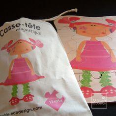 Casse-tête en bois magnétique Marie-Disco, cadeau pour enfant, aimant, moderne, Montréal, fait au Québec, Canada, Mabie Ecodesign de la boutique MabieEcodesign sur Etsy