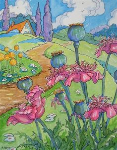 """Storybook Cottage Series For the Love of Ruffled Poppies"" - Original Fine Art for Sale - © Alida Akers"