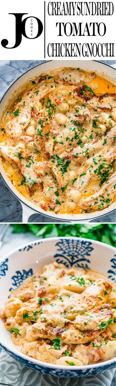 This Creamy Sun Dried Tomato Chicken Gnocchi | Jo Cooks | this is so comforting, simple and satisfying. These juicy chicken tenders with a sun dried tomato creamy sauce and gnocchi will make it to your dinner table in 20 minutes.