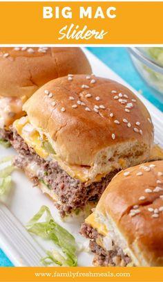 Big Mac Sliders #sliders #familyfreshmeals #bigmac #copycat #burgers #appetizer #fingerfood #miniburgers #favoriterecipes via @familyfresh