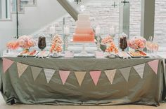 peach and gray cake table ideas - peach and grey wedding sweet station