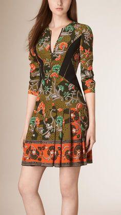 Robe en soie à imprimé floral Vert Antique | Burberry