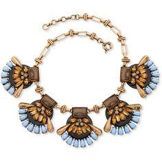 Palmbeach Jewelry Brown And Blue Crystal Lucite Open Fan Necklace With... ($40) ❤ liked on Polyvore featuring jewelry, necklaces, brown, lucite necklace, blue crystal necklace, brown necklace, crystal chain necklace and crystal stone necklace