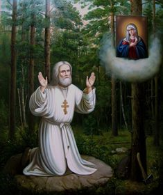 "St Seraphim of Sarov ""Acquire the Spirit of Peace and a thousand souls around you will be saved. Queen Of Heaven, Biblical Art, Holy Mary, Blessed Virgin Mary, Orthodox Icons, Blessed Mother, Mother Mary, Christian Art, Religious Art"