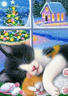 Mama cat kitten mouse Christmas window church snow original aceo painting art #Miniature