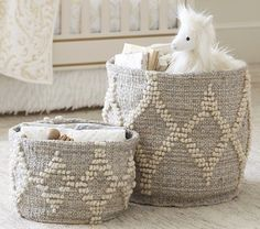 Metallic Woven Wool Storage | Pottery Barn Kids