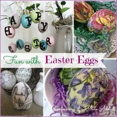 for the florals she used the same method for these eggs, using small cut-outs of the pattern on a pretty spring paper napkin to create these eggs. To make things even easier, she spray-painted the plastic eggs a cream color first so that if any of the background shows, it won't matter.