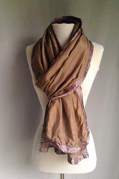 Wrap | Boho Scarf | Long Scarf | Silk Scarf | Hand Dyed Silk Scarf | Mocha | Cocoa Silk | Two Toned Scarf | Hippie Scarf | Light Scarf by redchairstudiosilks. Explore more products on http://redchairstudiosilks.etsy.com