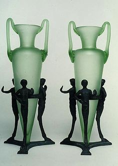 Pair of Green Satin Glass Vases with Bronze glass and bronze each 13.75 x 5 inches diameter circa 1910- 1930