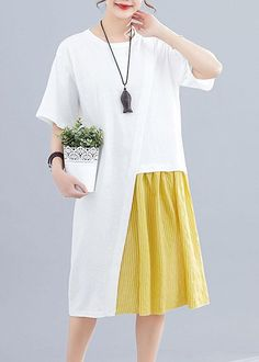 Women patchwork o neck linen dresses Sewing white Dresses summer Source by so. - Women patchwork o neck linen dresses Sewing white Dresses summer Source by soolinen - Cotton Dresses, Women's Dresses, Fashion Dresses, Fashion Clothes, Mode Batik, Edgy Dress, Look Fashion, Womens Fashion, Fashion Edgy