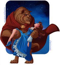 Beauty and the Beast (Disney) - Beast, Prince Adam x Belle Disney Fan Art, Disney Girls, Disney Love, Disney Magic, Beauty And The Beast Art, Belle And Beast, Disney Princess Belle, Pinturas Disney, Estilo Anime
