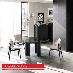 Table with titanium or black embossed lacquered steel legs and details in black chrome steel .Top with or without bevelled edge in clear or extra clear glass. Design:Paolo Cattelan  FOR INQUIRY CALL US at 971 434 74577, 971 433 86180, 971 433 47782 http://www.casanovadubai.com/