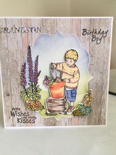 "Created with the beautiful Jayne Nestorenko stamps and die set. Adorables ""planting Wishes"". Crafters Companion, Kids Cards, Summer Collection, Planting, Wish, Card Ideas, Stamps, Scrapbooking, Create"