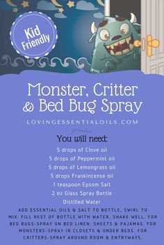 Monster Critter & Bed Bug Essential Oil Spray Recipes | Monster in the Closet Spray | Monster Away Be Gone | DIY Homemade Repellent for Bugs | Kid Friendly