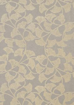 Ginkgo #wallpaper in #silver from the Artisan collection. #Thibaut