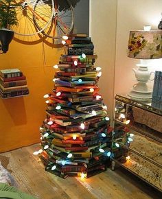 Christmas tree made of books.  I think this will go up in my house this year.