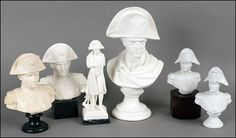 Set of Napoleon busts - Parian style plus 4 small resin busts.
