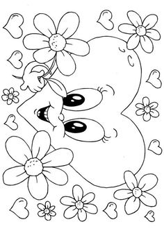 Valentin-blommor Valentine Coloring Pages, Heart Coloring Pages, Quote Coloring Pages, Easter Coloring Pages, Free Printable Coloring Pages, Colouring Pages, Adult Coloring Pages, Coloring Sheets, Cute Heart Drawings