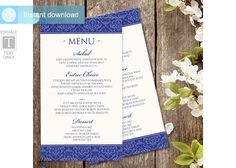 Menu Template | DOWNLOAD Instantly - EDITABLE TEXT | Elise Damask (Royal Blue) 4 x 7 | Microsoft Word Format