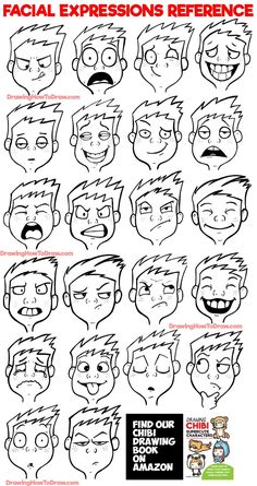 Facial Expressions and Silly Cartoon Faces Reference Sheet - How to Draw Step by Step Drawing Tutorials