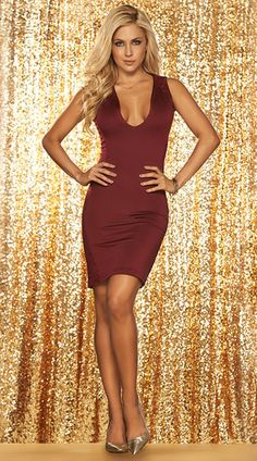 Flaunt your sexy curves in this gorgeous burgundy dress featuring a deep scoop neckline, thick shoulder straps, sheer lace side panels, and a sheer mesh back. Lacy Burgundy Club Dress, Low Cut Burgundy Dress, Sheer Lace Burgundy Dress