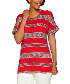 C. Wonder Persian Pink Medallion-Stripe Short-Sleeve Top - Plus Too by C. Wonder #zulily #zulilyfinds