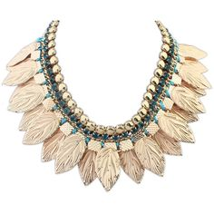 Metal Leaves Punk Personality Necklace ($13) ❤ liked on Polyvore featuring jewelry, necklaces, leaves necklace, sexy necklace, leaf necklace, sexy jewelry and leaf jewelry