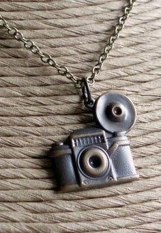 Camera Necklace Shutterbug Antiqued Brass by linkeldesigns