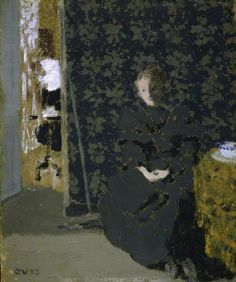 The Artist's Sister with a Cup of Coffee 1893   Edouard Vuillard   distemper on card 35 x 29 cm