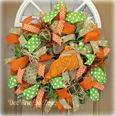 Easter Carrot Deco Mesh Wreath by DeeVine DeeZines.