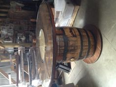 """ROOM: Outside in or """"man cave"""". This table would be used as a multi-purpose little dining table or a game table. Let the guys all come over for a game of Texas Hold 'Em or let the gals all come over for a little lunch! Whiskey Barrel Coffee Table, Wine Barrel Table, Whiskey Barrels, Barrel Furniture, Wooden Furniture, Barrel Projects, Little Lunch, Jack Daniels, Houston Tx"""