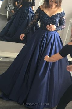 Off the Shoulder Prom Dress, Long Prom Dresses, Navy Evening Gowns, Princess Party Dresses, Long Sleeve Formal Dresses