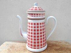 Enamel coffee pot, red checkered French farmhouse coffee pot complete with filter system, rustic kitchen decor.