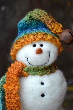 Needle Felted Snowman 422 by BearCreekDesign on Etsy