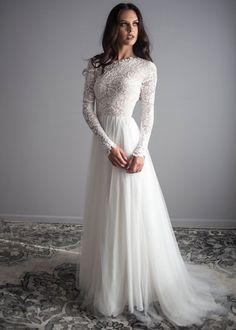 """If the words """"gorgeous long sleeve wedding dress"""" set your heart racing, you're in for a treat. Find your perfect long-sleeve wedding dress! Long Wedding Dresses, Bridal Dresses, Wedding Gowns, Party Dresses, Tulle Wedding, Vintage Boho Wedding Dress, Lace Weddings, Online Wedding Dresses, Long Sleave Wedding Dress"""