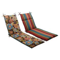 Outdoor Reversible Chaise Lounge Cushion- Brown/Turquoise Floral/Stripe