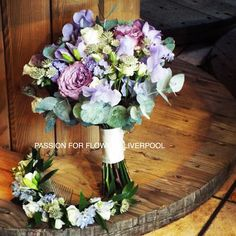 Passion For Flowers (@passionforflowers) on Instagram: fab lilac roses, astrantia, freesia, sweet peas, eucalyptus and a lovely head circlet for the bride. #weddingflowers! Here's today's #flowers for a fab bride Ann…""
