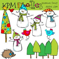 COMBO Snowmen Family Digital Clip art and black line by kpmdoodles, $5.60
